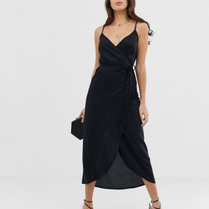 ASOS DESIGN cami wrap linen maxi dress